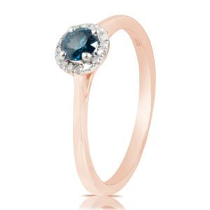 0.37 Ctw Classic Round Diamond Engagement Ring w/ 0.30 Carat Blue Diamond - Custom Made By Yaffie™