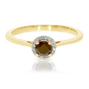 0.37 Ctw Classic Round Diamond Engagement Ring w/ 0.30 Carat Cognac Diamond Halo Ring - Custom Made By Yaffie™