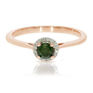 0.37 Ctw Classic Round Diamond Engagement Ring w/ 0.30 Carat Green Diamond Halo Ring - Custom Made By Yaffie™