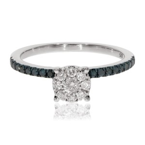 0.39 Ctw Classic Round Briliant Cut Blue Diamond With Natural Diamond Engagement Ring - Custom Made By Yaffie™