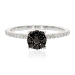 0.43 Ctw Classic Round Briliant Cut Black Diamond with Natural White Diamond Engagement Ring - Custom Made By Yaffie™