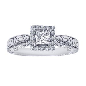 0.65 Carat Princess Cut Diamond Antique Filigree Engagement Rings Women White Gold GIA Certified - Custom Made By Yaffie™