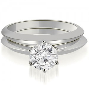 0.75 cttw. White Gold Knife Edge Round Cut Solitaire Bridal Set - Custom Made By Yaffie™