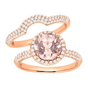 1 7/8 ct Natural Morganite & 5/8 ct Diamond Bridal Set in Rose Gold - Custom Made By Yaffie™