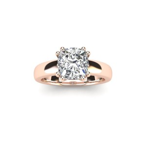 1 Carat Cushion Diamond Solitaire Engagement Ring in 14 Karat Rose Gold - Custom Made By Yaffie™