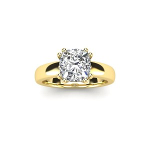 1 Carat Cushion Diamond Solitaire Engagement Ring in 14 Karat Gold - Custom Made By Yaffie™