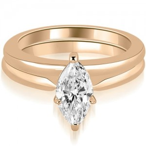 1.00 cttw. Rose Gold Classic Solitaire Marquise Cut Diamond Bridal Set - Custom Made By Yaffie™