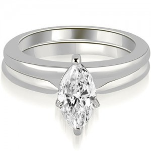 1.00 cttw. White Gold Classic Solitaire Marquise Cut Diamond Bridal Set - Custom Made By Yaffie™