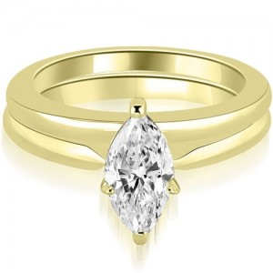 1.00 cttw. Gold Classic Solitaire Marquise Cut Diamond Bridal Set - Custom Made By Yaffie™