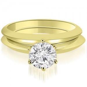 1.00 cttw. Gold Knife Edge Round Cut Solitaire Bridal Set - Custom Made By Yaffie™