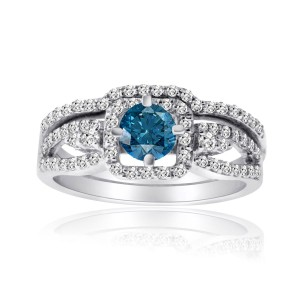 Gold 1ct TDW Blue and White Diamond Bridal Ring Set - Custom Made By Yaffie™