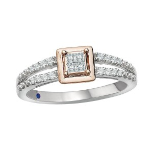 Rose Gold over Silver 1/5ct TDW Diamond and Blue Sapphire Accent Ring - Custom Made By Yaffie™