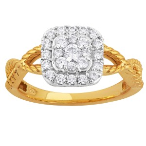 Two-tone Gold 1/2ct TDW Cushion Diamond Halo Engagement Ring - Custom Made By Yaffie™