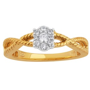 Two-tone Gold 1/6ct TDW Diamond Oval Cluster Top Engagement Ring - Custom Made By Yaffie™