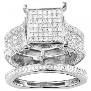 White Gold 1 3/8ct TDW Pave Diamond Cluster Ring - Custom Made By Yaffie™