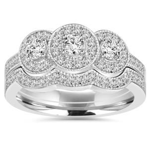 White Gold 1 ct TDW 3-stone Diamond Vintage Engagement Wedding Ring Set - Custom Made By Yaffie™