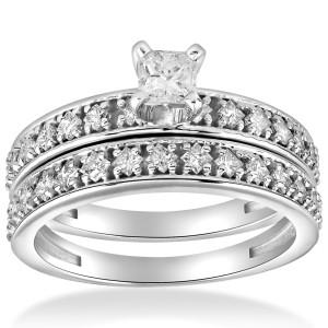 White Gold 1 cttw Princess Cut Diamond Engagement Wedding Ring Set - Custom Made By Yaffie™