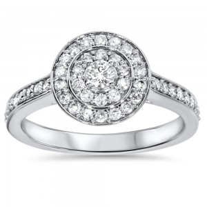 White Gold 1/2 ct TDW Diamond Double Halo Engagement Ring - Custom Made By Yaffie™