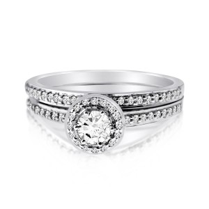 White Gold 1/2ct TDW Diamond Round-cut Bridal Ring Set - Custom Made By Yaffie™
