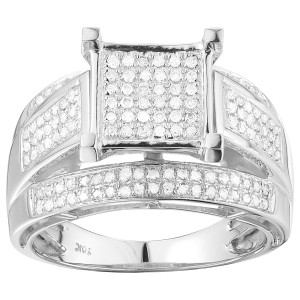 White Gold 1/2ct TDW Pave Diamond Engagement Ring - Custom Made By Yaffie™