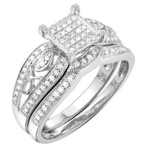White Gold 1/2ct TDW White Diamond Engagement Bridal Set - Custom Made By Yaffie™