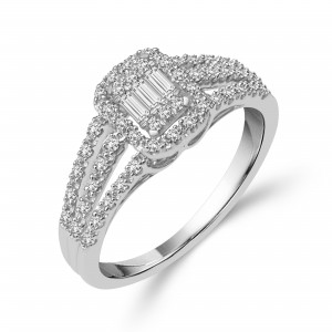 White Gold 1/3ct TDW Emerald-shape Baguette Diamond Ring - Custom Made By Yaffie™