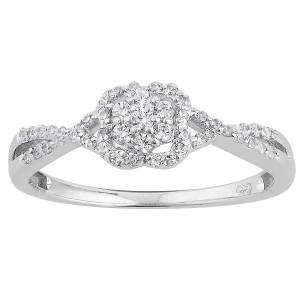 White Gold 1/4ct TDW Diamond Clover Halo Split Shank Promise Ring - Custom Made By Yaffie™