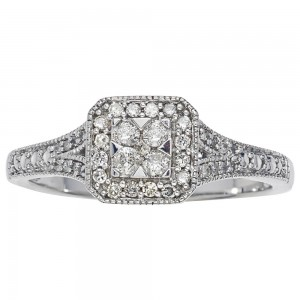 White Gold 1/4ct TDW Diamond Promise Ring by Ever One - Custom Made By Yaffie™