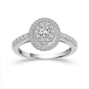 White Gold 1ct TDW Diamond Halo Engagement Ring - Custom Made By Yaffie™