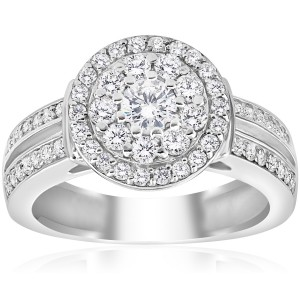 White Gold 1ct TDW Double Halo Diamond Engagement Ring - Custom Made By Yaffie™
