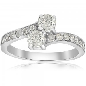 White Gold 1cttw TDW Two Stone Engagement Diamond Ring - Custom Made By Yaffie™