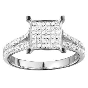 White Gold 3/8ct TDW Elegant Diamond Engagement Ring - Custom Made By Yaffie™