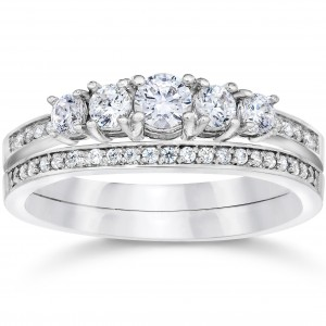 White Gold 5/8ct TDW Vintage Real Diamond Engagement Wedding Ring Set - Custom Made By Yaffie™