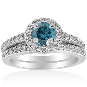 White Gold 7/8ct Round Halo Blue Diamond Engagement Matching Ring Wedding Band Set - Custom Made By Yaffie™