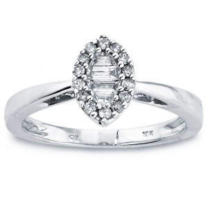 White Gold Diamond 1/4ct TDW Marquise-shaped Ring by Ever One - Custom Made By Yaffie™