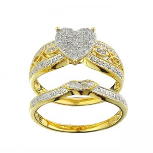 Gold 1/3ct TDW Diamond Heart Bridal Set - Custom Made By Yaffie™