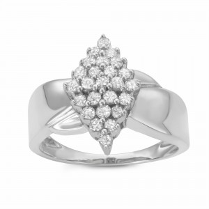 1/2CTTW Marquise-shaped Diamond Cluster Warerfall Ring in Sterling Silver - Custom Made By Yaffie™