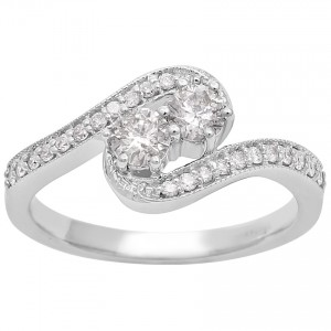 1/2ct Two Diamond Plus Milgrain Prong Pave Ring In White Gold - Custom Made By Yaffie™