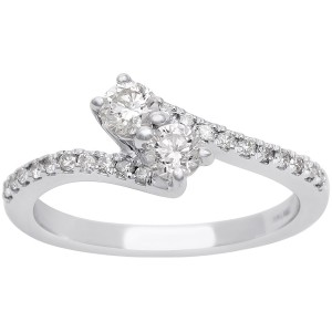 1/2ct Two Diamond Plus Pave Ring In White Gold - Custom Made By Yaffie™