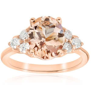 Rose Gold 2 1/3 ct TW Oval Morganite & Diamond Engagement Ring - Custom Made By Yaffie™