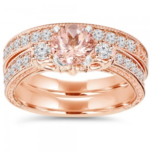 Rose Gold 2 CT TW Vintage Diamond & Morganite Engagement Wedding Ring Set - Custom Made By Yaffie™