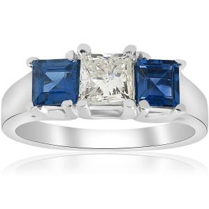 White Gold 1 1/2ct Princess Cut Diamond & Blue Sapphire 3 Stone Ring - Custom Made By Yaffie™