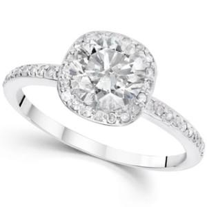 White Gold 1 1/5 ct TDW Diamond Claritiy Enhacned Cushion Halo Engagement Ring - Custom Made By Yaffie™