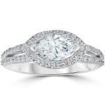 White Gold 1 3/8 ct TDW Sideways Marquise Enhanced Diamond Halo Engagement Ring - Custom Made By Yaffie™