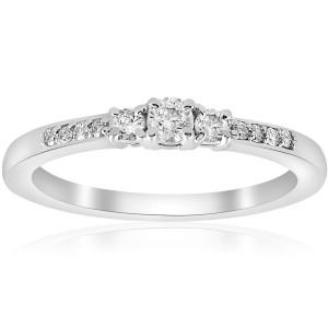 White Gold 1/4 ct TDW Diamond Three Stone Engagement Ring - Custom Made By Yaffie™