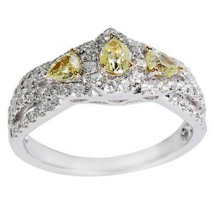 White Gold 1ct TDW Round White & Fancy Yellow Diamond Engagement Ring - Custom Made By Yaffie™