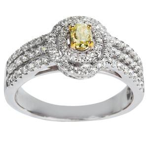 White Gold 1ct TDW Round White And Yellow Diamond Halo Engagement Ring - Custom Made By Yaffie™
