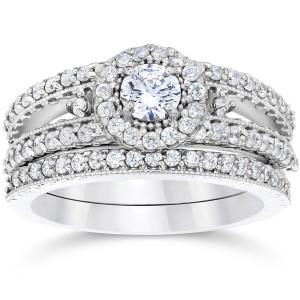 White Gold 1ct TDW Vintage Halo Diamond Engagement Wedding Ring Set - Custom Made By Yaffie™