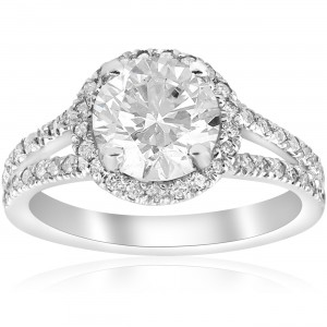 White Gold 2 1/2 ct TDW Diamond Clarity Enhanced Halo Split Shank Engagement Ring - Custom Made By Yaffie™