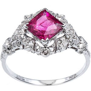 White Gold 2/5ct TDW Diamond and Rubellite Estate Cocktail Ring Size 8.25 - Custom Made By Yaffie™